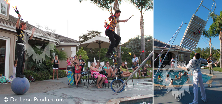 Jugglers, Characters, and Aerialists – Birthday Pool Party